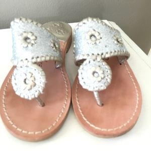 Jack Rogers Silver Thong Sandals, Size 5 Medium